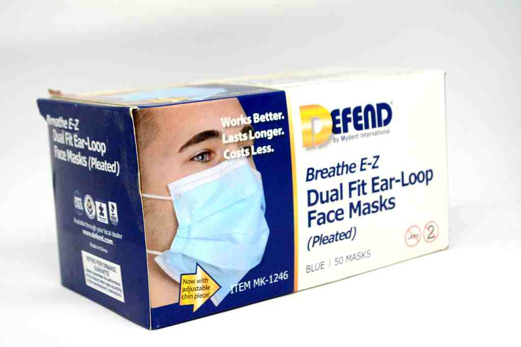 Face mask (blue) (Dual fit Ear - loop ) pleated